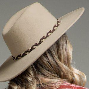 New Beige Wool Panama Hat and Braid